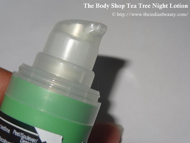 The Body Shop Tea Tree Blemish Fade Night Lotion dispenser