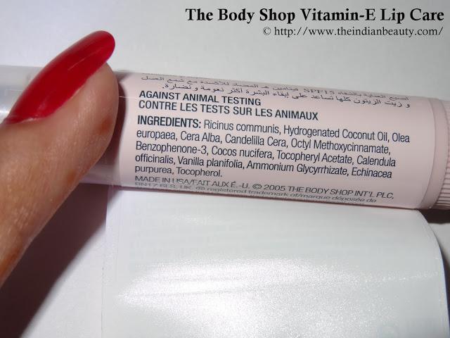 The Body Shop Vitamin- E Lip Care ingredients