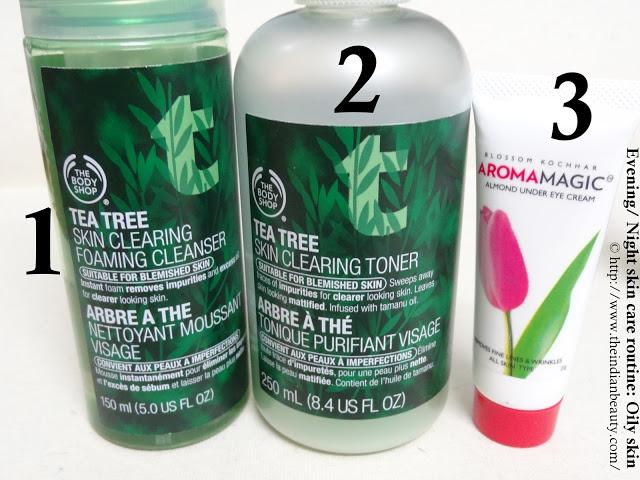 Evening/ Night skin-care routine (Oily skin) steps 1, 2, 3
