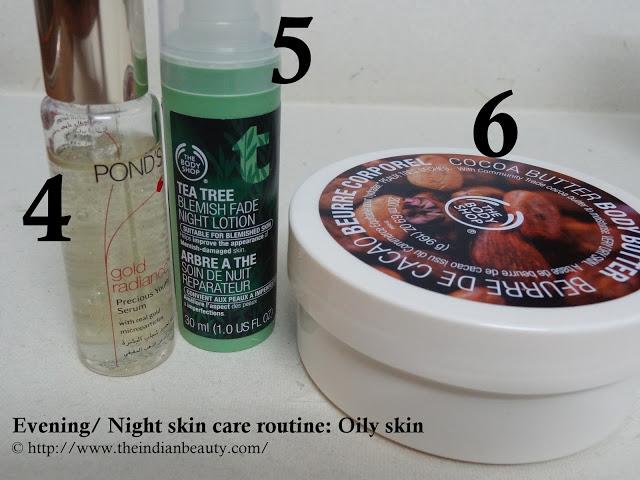 Evening/ Night skin-care routine (Oily skin) steps 4, 5, 6