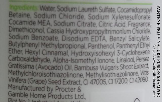Pantene Pro-V Nature Fusion shampoo ingredients