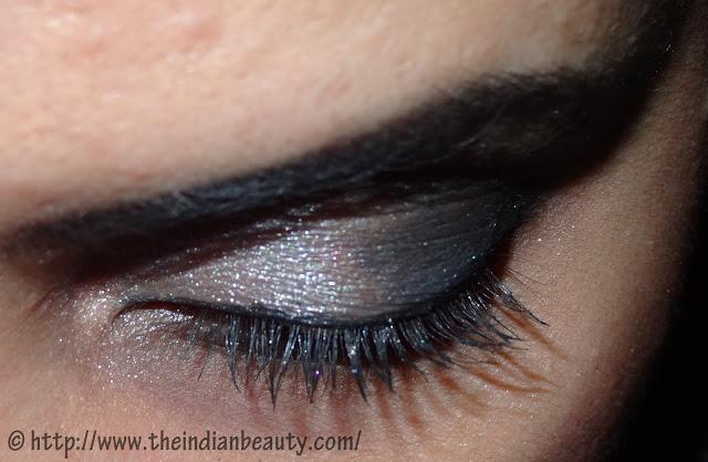 silver black smokey eye make up