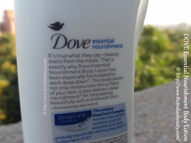 about dove essential nourishment body lotion