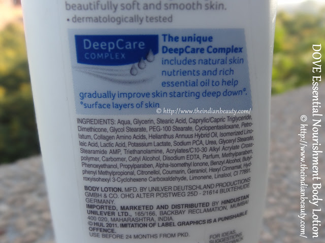 dove essential nourishment body lotion ingredients