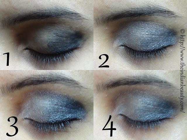 silver black smokey eye make up tutorial