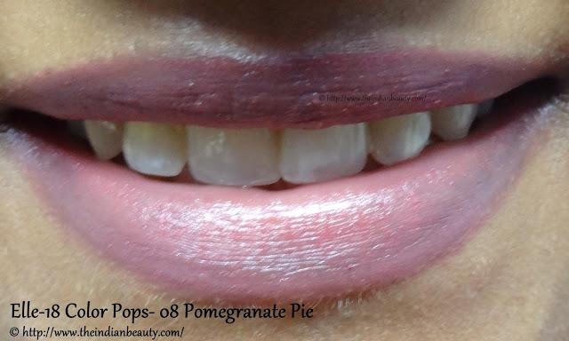 elle 18 color pops pomegranate pie lip swatch