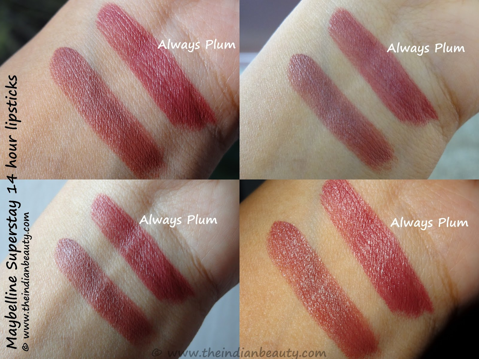 Maybelline SuperStay 14 hour lipstick- Always Plum: Review, swatches