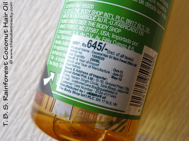 the body shop rainforest coconut hair oil price india