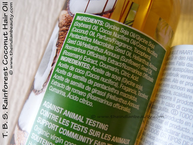 the body shop rainforest coconut hair oil ingredients