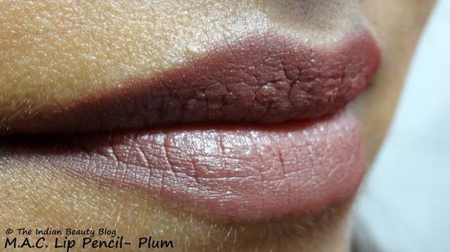 mac lip pencil plum lip swatch