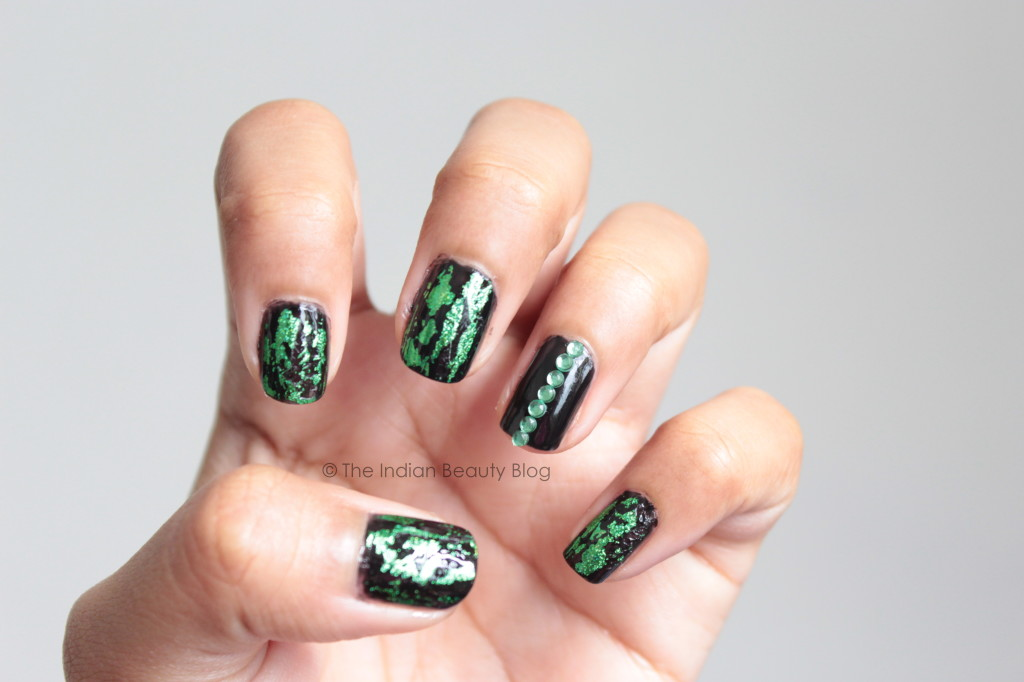 Gothic holographic nail art- The Indian Beauty Blog