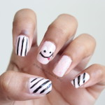 Pastel pink smiley nail art feat. Born Pretty Store