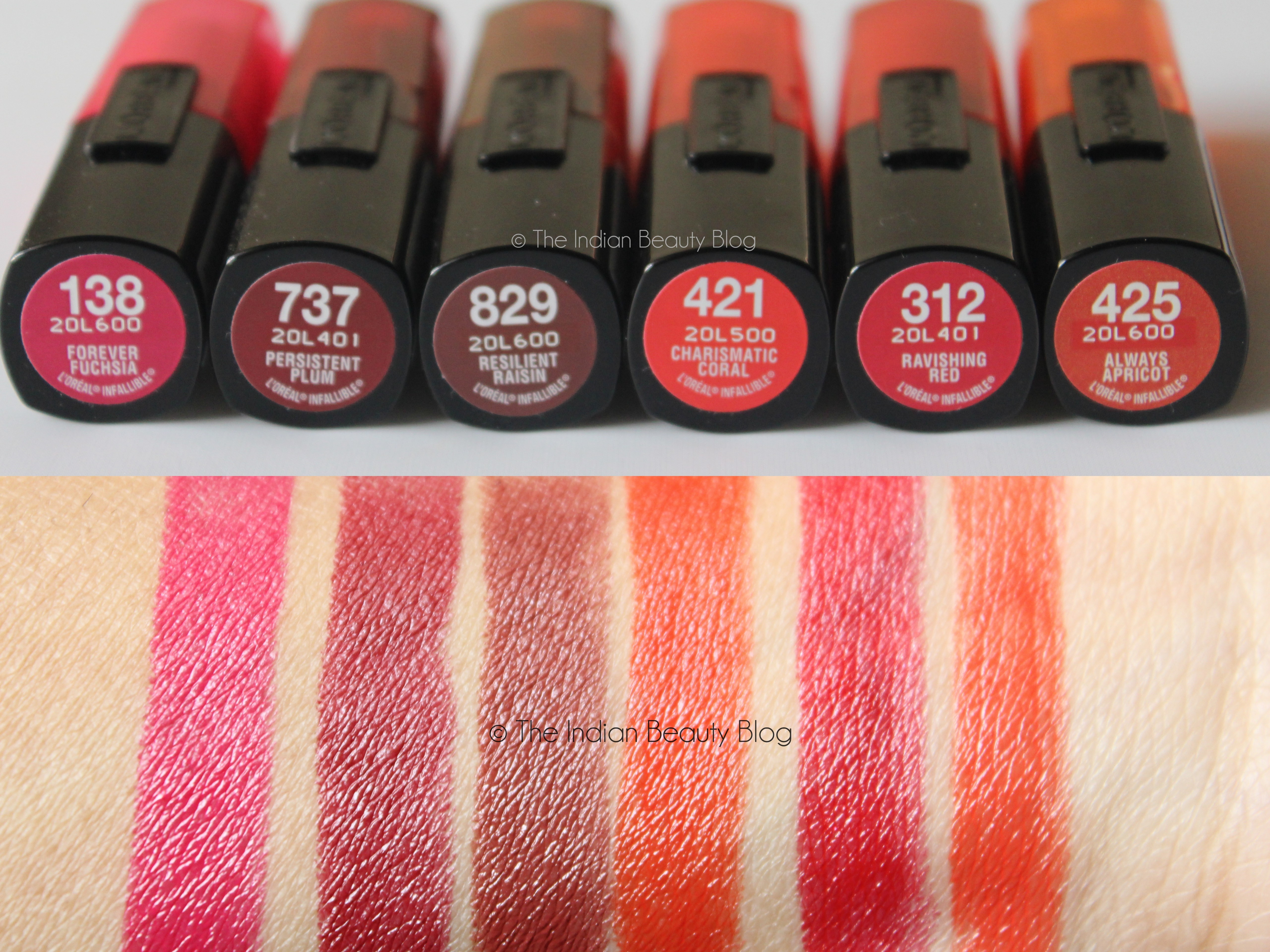 L'Oreal Paris Infallible lipsticks swatches price India reviews ...