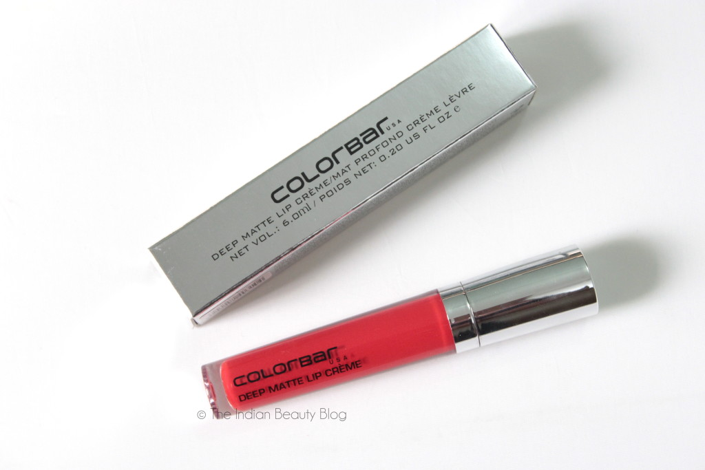 colorbar deep matte lip creme deep red review swatch
